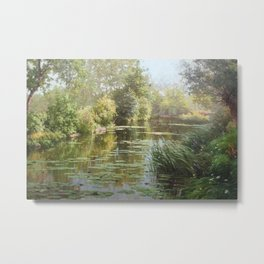 La mare aux nénuphars countryside lily pond and floral oil on canvas painting by René Charles Edmond His Metal Print