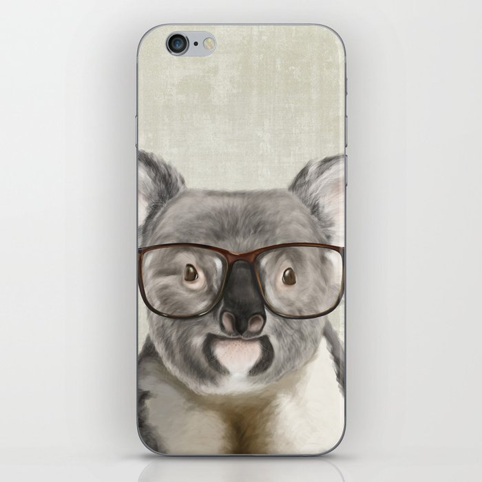 A Baby Koala With Glasses On Rustic Background IPhone Skin