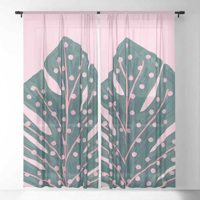 Polka Dots Monstera Sheer Curtain