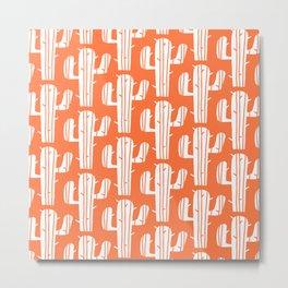 Mid Century Modern Desert Cactus Pattern 826 Orange Metal Print