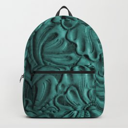 Teal Flower Tooled Leather Backpack