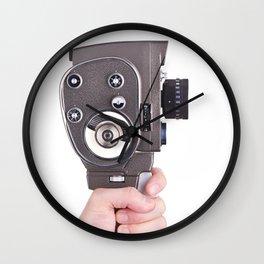 Retro mechanical hobbies movie camera in hand Wall Clock