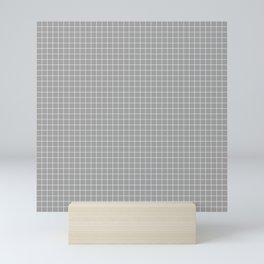 Grey Grid White Line Mini Art Print