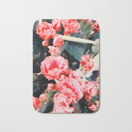 closeup blooming red cactus flower texture background Bath Mat