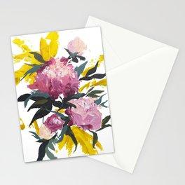 pivoine violette avec jaune Stationery Cards