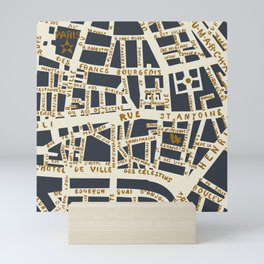 PARIS MAP GREY GOLD Mini Art Print