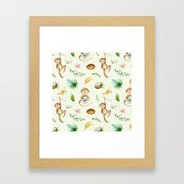 Tropical hand painted floral monkeys coconut pattern Framed Art Print