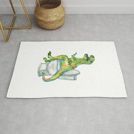 T-rex in the bathroom dinosaur painting Rug