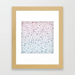 Cute & Sweet Monsters / Funny Clouds and Diamonds Framed Art Print