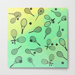 Random rackets green/yellow Metal Print