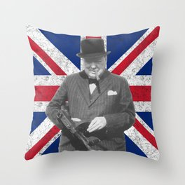 Winston Churchill Posing With A Tommy Gun Throw Pillow