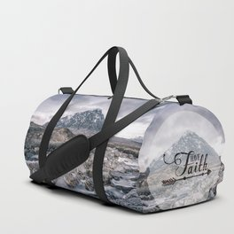 Have Faith Inspirational Typography Over Mountain Duffle Bag