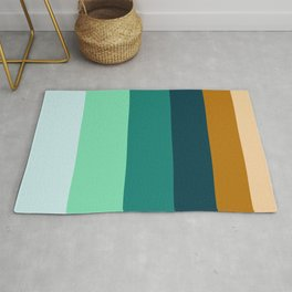 Teal Turquoise and Suede Geometric Pattern Rug