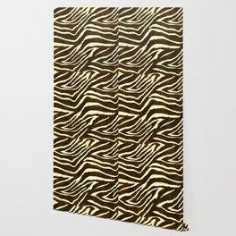 Animal Print Zebra in Winter Brown and Beige Wallpaper