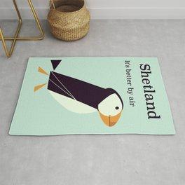 Shetland Puffin Vintage travel poster Rug