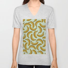 Fruit pattern. Background from bananas with realistic shadows Unisex V-Neck