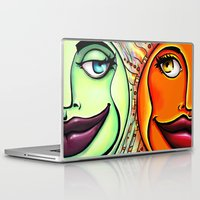 sun and moon Laptop & iPad Skins featuring Moon & Sun by spasticlizard