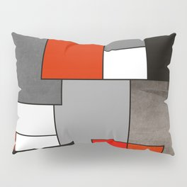 Modern Geometric Red and Black Pillow Sham