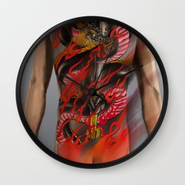 Dragon and fudomyo Sword bodysuit tattoo design  Wall Clock