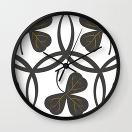 Grey on White Clover Pattern Wall Clock
