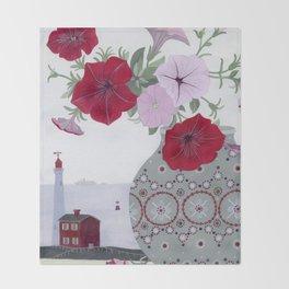 Petunias and Seascape Throw Blanket