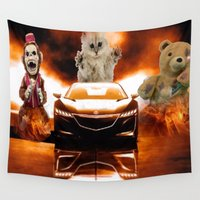 racing Wall Tapestries featuring HONDA NSX,RACING CAR,NIGHTMARE by ira gora