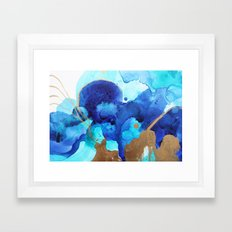 Blue Watercolor Abstract Framed Art Print