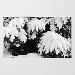 Snow Covered Fir Tree Rug