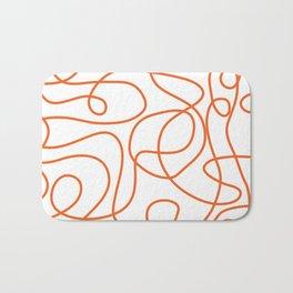 Doodle Line Art | Persimmon / Burnt Orange Lines on White Background Bath Mat