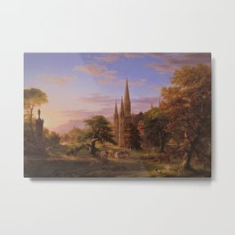 The Return Home medieval forest cathedral landscape painting by Thomas Cole Metal Print