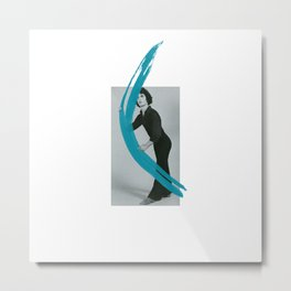 Mimes Make Art Series: Mime Holding Lightening Blue Brushstroke Metal Print
