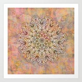 Watercolor Arabesque Mandala, Pastel Rainbow Bohemian Circle Kaleidoscope Art Print