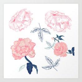 Vintage roses with indigo palette Art Print