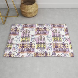 Bicycles in the town - pattern Rug