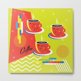 Abstract Coffee Cups Memphis Style Pattern Split Complementary Colors, Geometric Art, Pop Art Metal Print