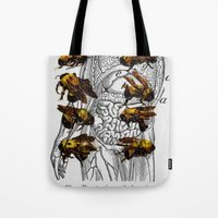 bees Tote Bags featuring bees by Ashley Moye