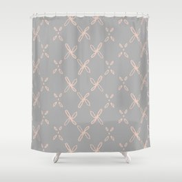 Pink & Gray Abstract Astral Pattern Shower Curtain