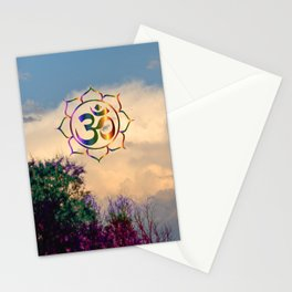 Trees Clouds Om Stationery Cards