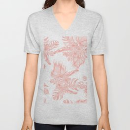 Tropical Hibiscus and Palm Leaves Coral White Unisex V-Neck