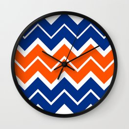Big Chevron:  Blue + Orange Wall Clock