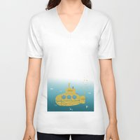 submarine V-neck T-shirts featuring YELLOW SUBMARINE by ARCHIGRAF