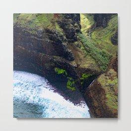 Coastal Cliffs Hawaiian Tropical Beach Metal Print