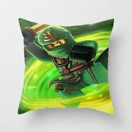 ninja green Throw Pillow