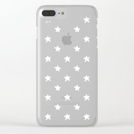 Polka Stars: Black and White Clear iPhone Case