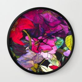 Black Parrot Tulips Wall Clock