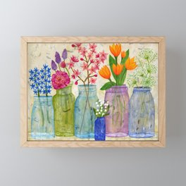 Springs Flowers in Old Jars Framed Mini Art Print