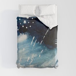 Meteor Shower - an abstract acrylic piece in blue and white Comforters