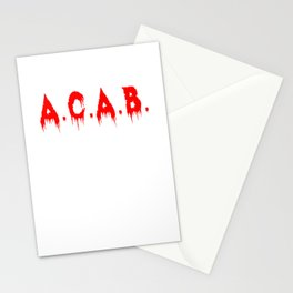 ACAB A.C.A.B. All Cops Blood Bloody T-Shirt Design Stationery Cards