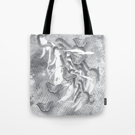 Butterflies in a gray abstract landscape Tote Bag