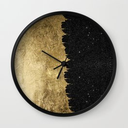 Faux Gold and Black Starry Night Brushstrokes Wall Clock